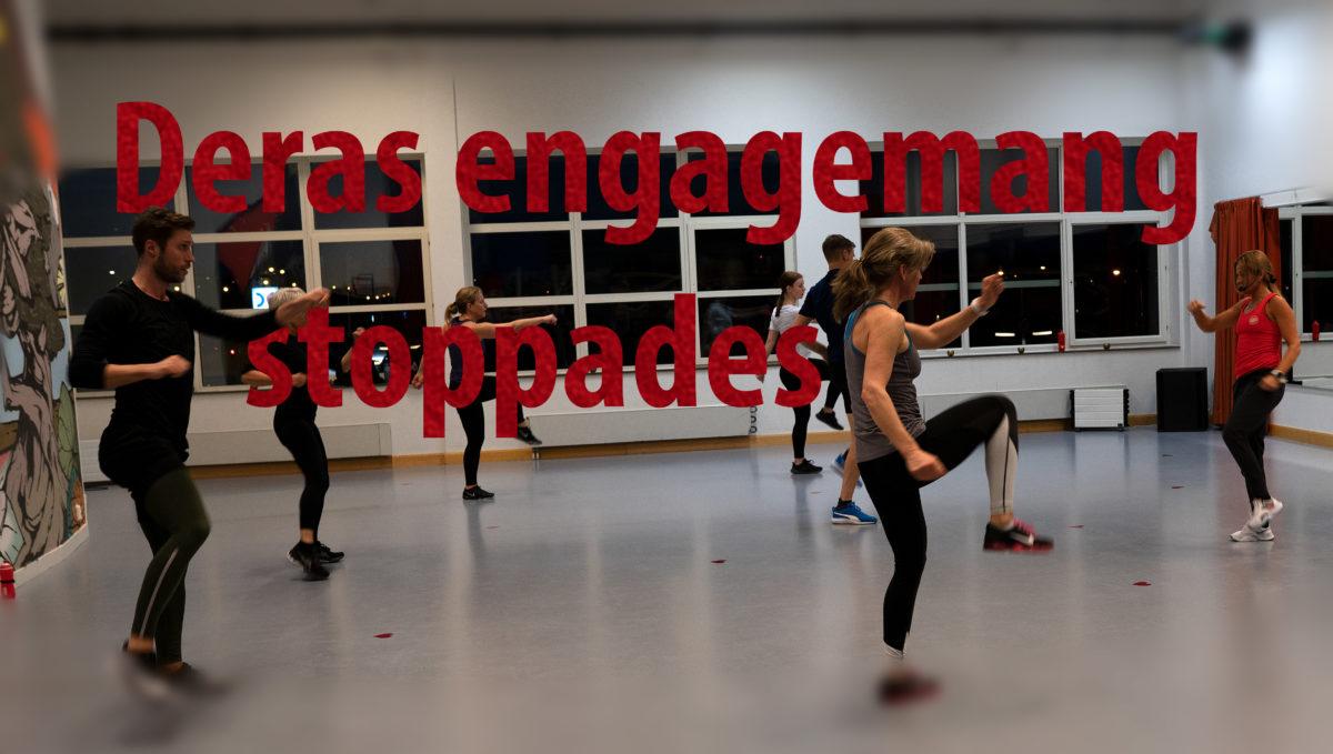 Deras engagemang stoppades står det i röd text över en bild på Stina Winbladhs träningspass.